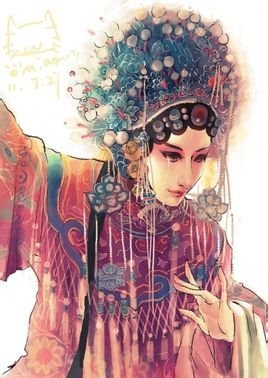 秦腔花旦女性手绘图