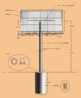 然后浇注大体积的钢筋混凝土,通过预埋件与立柱连接,通过钢筋混凝土