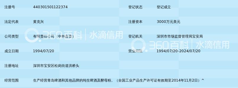 深圳青岛啤酒朝日有限公司