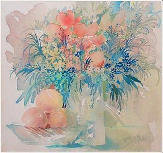水彩畫《老房子》入選91西湖美術節